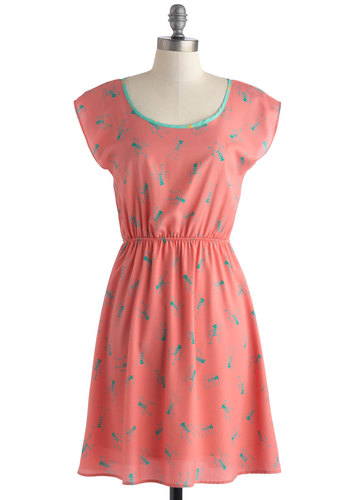 Groovin' Bones Dress - Mid-length, Coral, Green, Casual, A-line, Cap Sleeves, Scoop, Novelty Print, Quirky, Summer