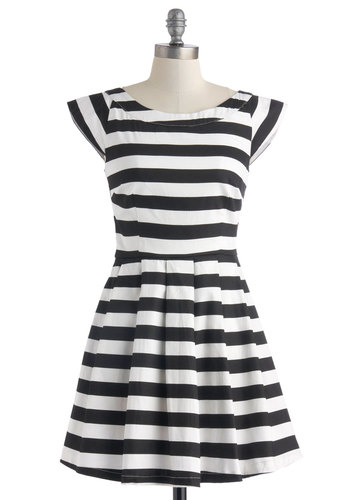 Monochrome for the Weekend Dress - Black, White, Stripes, Pleats, Casual, A-line, Cap Sleeves, Short, Scoop, Pockets