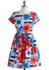Cannes-Do Attitude Dress - Mid-length, Blue, Red, White, Floral, Party, Fit & Flare, Short Sleeves, Scoop, Summer, Exclusives