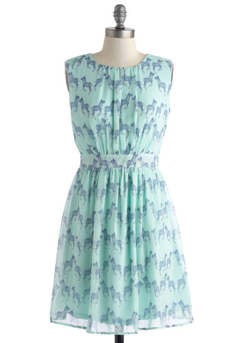 Styled and Free Dress - Chiffon, Mid-length, Mint, Blue, Print with Animals, Cutout, A-line, Sleeveless, Scoop, Daytime Party, Pastel, Quirky, Summer