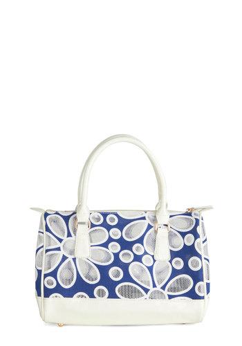 Grecian Isles Bag - Floral, Cutout, Blue, White, Spring, Summer, Pinup