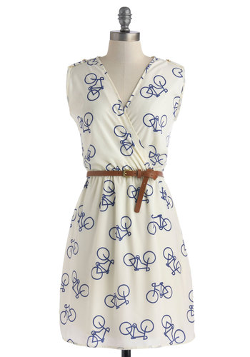 Ride Here, Right Now Dress - Cream, Blue, Belted, Shift, Sleeveless, V Neck, Novelty Print, Casual, Quirky, Summer, Mid-length