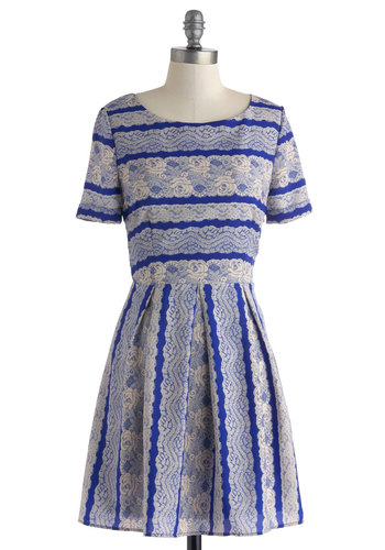 Feminine with the New Dress - Short, Blue, Tan / Cream, Stripes, Lace, Pleats, A-line, Short Sleeves, Scoop, Work, Daytime Party, Vintage Inspired