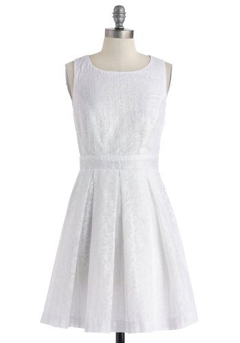 Float Performance Dress - Cutout, Pleats, Mid-length, White, Solid, Crochet, Graduation, A-line, Sleeveless, Scoop, Daytime Party, Spring, Summer