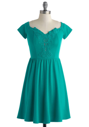 It's a Done Teal Dress - Short, Green, Solid, Party, Empire, Short Sleeves, Embroidery