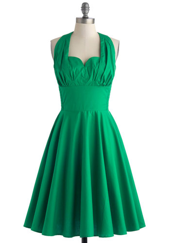 Retro Reminisce Dress in Green - Long, Cotton, Green, Solid, A-line, Halter, Sweetheart, Party, Daytime Party, Vintage Inspired, 50s