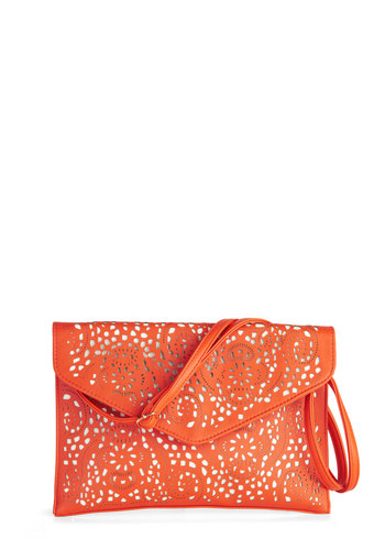 Stencil Artist Bag - Orange, White, Solid, Eyelet, Party, Daytime Party