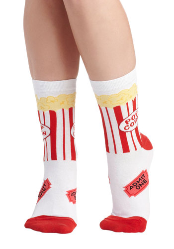 Get a Movie On Socks - Yellow, Novelty Print, Quirky, Red, White