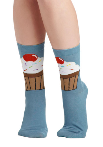 It's a Cakewalk Socks - Blue, Multi, Novelty Print, Kawaii, Quirky