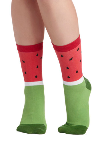 Refreshing Jaunt Socks - Red, Green, Black, White, Novelty Print, Fruits