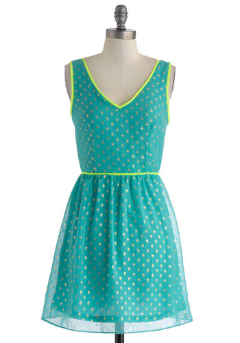 Out to See Dress - Short, Green, Yellow, Gold, Print, Trim, A-line, Tank top (2 thick straps), V Neck, Polka Dots, Party, Daytime Party, Neon, Summer