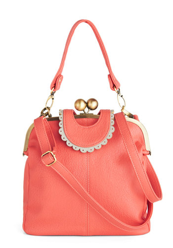 Meet Me in Minneapolis Bag by Darling - Coral, White, Solid, Trim, International Designer, Faux Leather