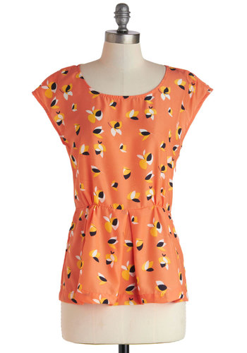 Dancing Delights Top - Mid-length, Orange, Yellow, Black, Floral, Casual, Cap Sleeves