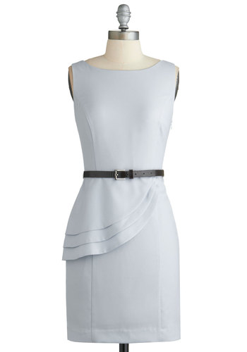 No Time Like the Presentation Dress - Mid-length, Blue, Solid, Tiered, Belted, Work, Pastel, Sheath / Shift, Sleeveless, Boat