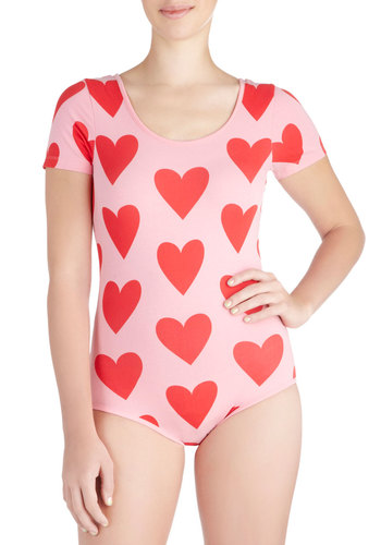 Amour the Merrier Bodysuit - International Designer, Mid-length, Cotton, Pink, Red, Print, Casual, Kawaii, Short Sleeves, Scoop, Valentine's, Pink, Short Sleeve