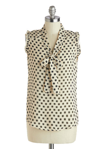 Peaceful Pause Top - Mid-length, Sheer, Tan / Cream, Black, Multi, Floral, Ruffles, Tie Neck, Work, Sleeveless, Summer