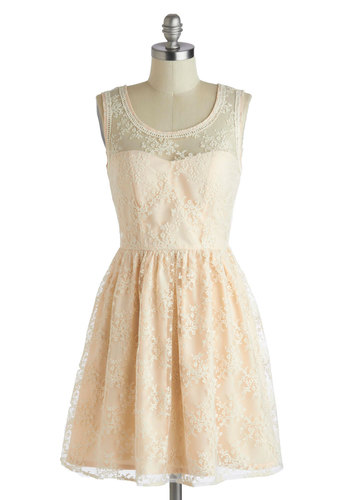 Lily of the Valley Dress - Pastel, Mid-length, Pink, Tan / Cream, Crochet, Embroidery, Daytime Party, A-line, Tank top (2 thick straps), Scoop, Graduation, Bride, Sheer