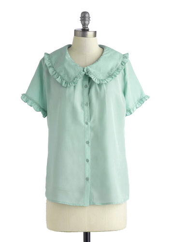 Countryside by Side Top - Mid-length, Blue, Solid, Ruffles, Casual, Vintage Inspired, Short Sleeves, Spring, Mint