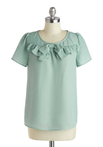 What Do You Sage? Top - Mid-length, Blue, Solid, Bows, Ruffles, Work, Daytime Party, Pastel, Spring, Scoop