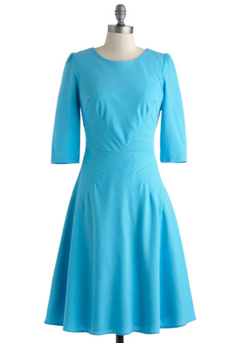 Goes Without Saying Dress - Long, Blue, Solid, Party, A-line, 3/4 Sleeve, Crew, Exposed zipper, Work, Vintage Inspired, 40s, 50s
