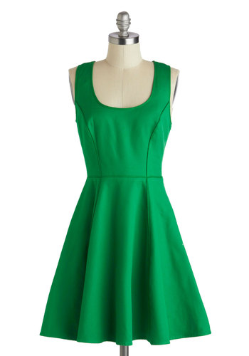 One Chic Day Dress - Mid-length, Cotton, Green, Solid, Party, A-line, Tank top (2 thick straps), Scoop, Embroidery, Pockets, Daytime Party, Fit & Flare, Spring, Summer, Sheer