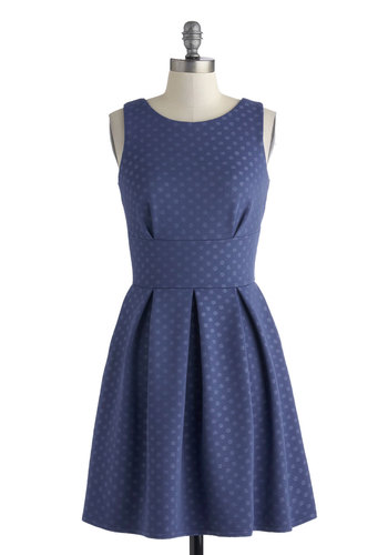 Mind Over Matterhorn Dress - Mid-length, Blue, Polka Dots, Exposed zipper, Pleats, Party, A-line, Sleeveless, Scoop