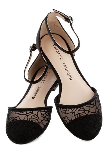 By Any Other Name Flat - Black, Floral, Lace, Flat, Party, Daytime Party, Variation