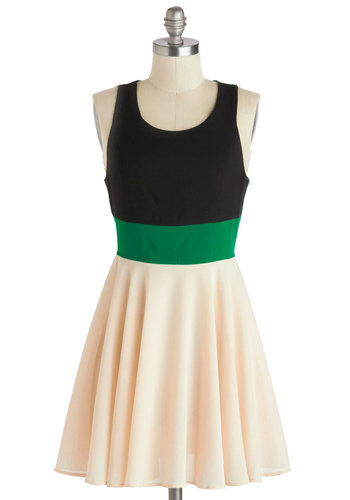 In Living Colorblock Dress - Short, Green, Tan / Cream, Black, Cutout, Casual, Colorblocking, A-line, Racerback, Scoop, Solid, Daytime Party, Spring, Summer