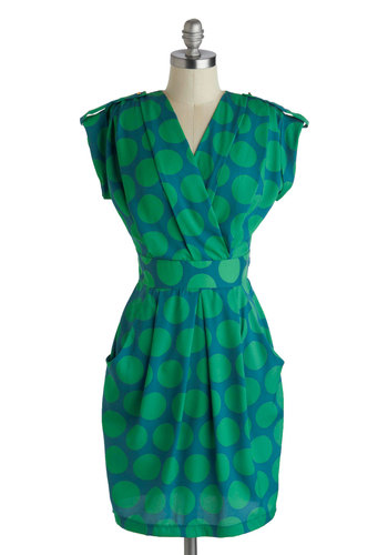 An Hour to Spare Dress in Dots - Blue, Green, Polka Dots, Epaulets, Pockets, Casual, Shift, Cap Sleeves, V Neck, Exposed zipper, Mid-length