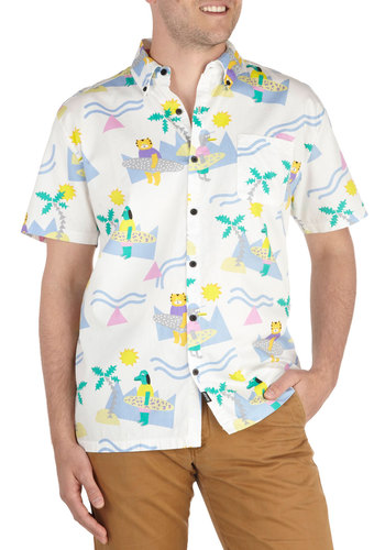 Keepin' It Real Cool Men's Shirt by Lazy Oaf - International Designer, Long, Cotton, Yellow, Green, Blue, Pink, Print with Animals, Novelty Print, Buttons, Casual, Vintage Inspired, Short Sleeves, Collared, Pockets, Beach/Resort, 90s, Quirky, Button Down, Summer, Multi, White, Cats, Guys, Critters