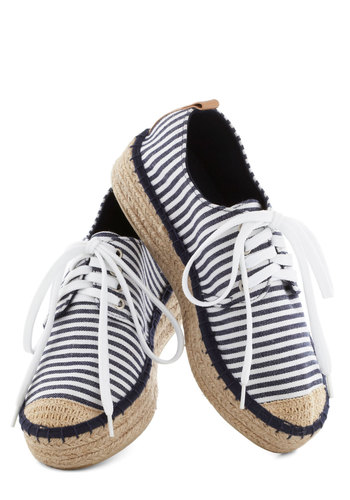 Coconut Cocktails Sneaker in Navy - Blue, White, Stripes, Nautical, Platform, Lace Up, Low, Tan / Cream, Braided, Casual, Travel, Spring, Summer, Variation