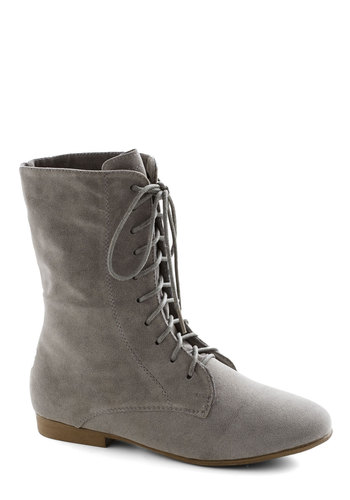 Zine Scene Boot - Grey, Solid, Flat, Lace Up, Casual, Steampunk, Travel, Basic, Fall