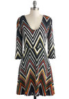 Oscillate Night Out Dress - Multi, Chevron, Casual, A-line, Long Sleeve, V Neck, Fall, Mid-length, Knit, Winter