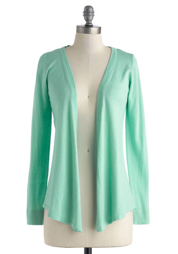 Friday Knit In Cardigan in Peppermint - Mid-length, Mint, Solid, Casual, Pastel, Long Sleeve, Travel, Minimal, Variation