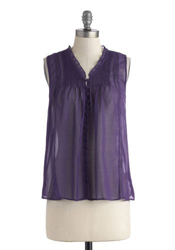 Up in the Errand Top - Solid, Buttons, Sleeveless, Chiffon, Sheer, Casual, Knit, Mid-length, Purple, Spring, Purple, Sleeveless