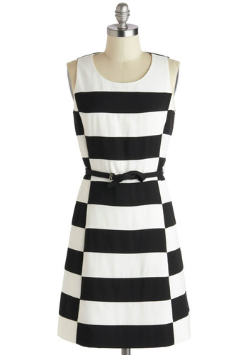 Salt and Pepped Up Dress - Black, White, Stripes, Belted, Party, Shift, Sleeveless, Scoop, Vintage Inspired, Mod