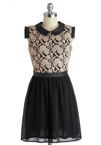 Coffee Shop Reunion Dress - Black, Tan / Cream, Lace, Peter Pan Collar, A-line, Sleeveless, Collared, Knit, Woven, Party, Short