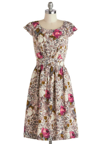 Get What You Dessert Dress in Rose by Emily and Fin - Floral, Pockets, A-line, Cap Sleeves, Scoop, Multi, Pink, Work, Daytime Party, Vintage Inspired, 50s, Spring, Variation, Long