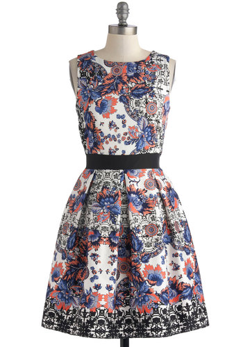 Make the Rounds Dress in Paisley Bouquets - Purple, Pink, Black, Floral, Lace, Pleats, Party, Fit & Flare, Sleeveless, Scoop, Exposed zipper, Spring, White, Mid-length, Cotton, Sheer, Gifts Sale