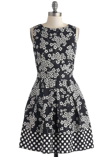 In the Pattern Mix Dress in Floral - Black, White, Floral, Exposed zipper, Pleats, Party, Fit & Flare, Sleeveless, Mid-length, Cotton, Woven, Polka Dots, Work