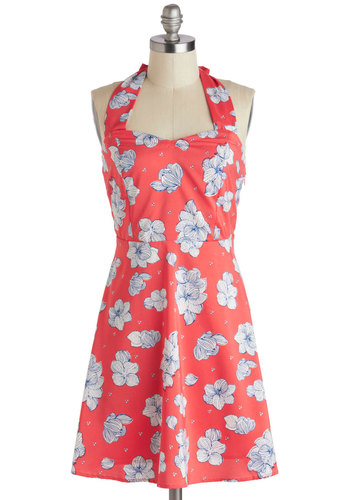 You, Me, and Daiquiri Dress by Tulle Clothing - Pink, Blue, White, Floral, Casual, Halter, Short, Pockets, Shift, Sweetheart, Summer, Beach/Resort