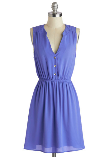 Go-To Style Dress - Mid-length, Purple, Solid, Buttons, Casual, A-line, Sleeveless, Minimal, V Neck
