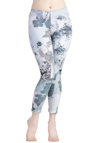 Bamboo Brushstrokes Leggings - Novelty Print, Casual, Skinny, Grey, Grey