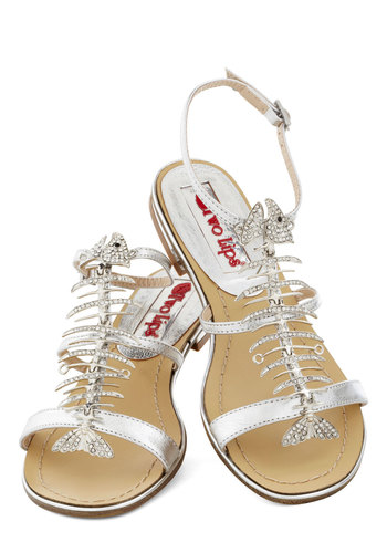 Dressed to Gill Sandal - Silver, Print with Animals, Rhinestones, Luxe, Statement, Flat