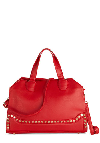 A Style Study in Scarlet Bag - Red, Solid, Studs, Faux Leather, Gold