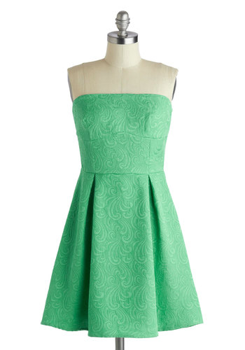 Femme de Menthe Dress - Short, Green, Solid, Pleats, Party, A-line, Strapless, Daytime Party, Spring, Mint, Summer, Holiday Party