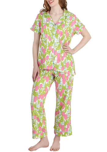 Posy Doze Pajamas - Pink, White, Floral, Trim, Short Sleeves, Cotton, Green, Buttons, Collared