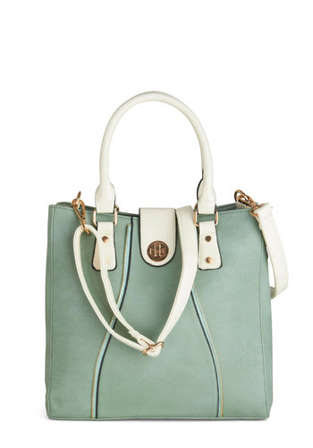 Task Nicely Bag - Mint, White, Solid, Pastel, Faux Leather, Exposed zipper, Work