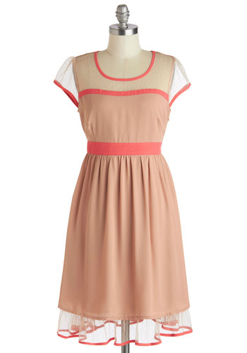 Almond Cake Dress - Mid-length, Pink, Tan / Cream, Trim, Party, Empire, Cap Sleeves, Scoop, Spring, Summer