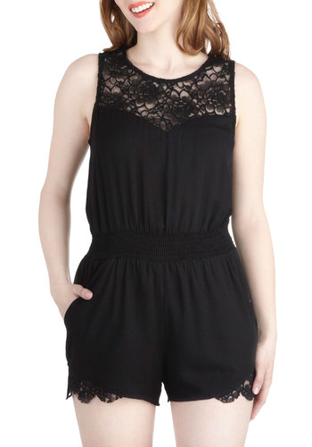 Summer's Charm Romper - Black, Solid, Lace, Casual, Sleeveless, Long, Exposed zipper, Pockets, Summer, Sheer